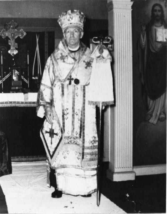 Archbishop James in his chapel in the 1950's