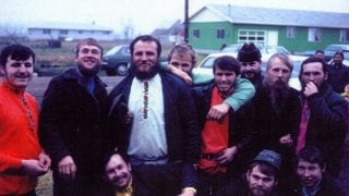 A groom and his friends at the Turkish village in Gervais, OR. Photo is taken in the early 1970 by Dail Adams or J. Hudanish