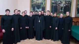 Students of St. Petersburg Academy with Bp Ambrose, rector