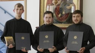 HTS 2007 graduates. Left to right: Constantine, Felipe Oliveira from Brasil and Denis Lvov from Kazahstan