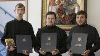 HTS 2007 graduates. Left to right: Constantine, Felipe Oliveira from Brasil and Denis Lvov from Kazahstan